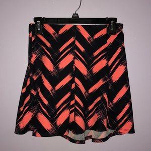 Bright salmon and black airbrushed chevron skirt